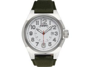 Zippo ZOZO45013 Men's Fabric Sport Watch Stainless Case White Dial W/ Black Zipp