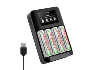Tenergy TN474U Battery Charger with Centura AA Rechargeable Batteries, 4-Pack
