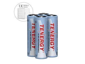 Combo: 4 pcs Tenergy AA 2500mAh NiMH Rechargeable Batteries + 1 Case