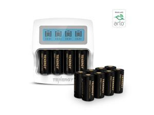 Arlo Certified: Tenergy Premium High Capacity 750mAh 3.7V Arlo Battery and Fast Smart Charger for CR123A Rechargeable Battery for Arlo Cameras (VMC3030/VMK3200/VMS3330/3430/3530), 12-Pack