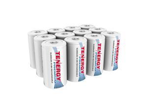 Combo: 12pcs Tenergy Premium D Size 10,000mAh High Capacity NiMH Rechargeable Batteries