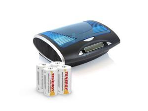 Combo: 4 Pack Tenergy Rechargeable NiCd D Batteries + T9688 LCD Smart Charger for NIMH/NICD AA/AAA/C/D/9V Batteries