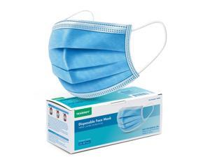 Triple-layer Filtration Disposable Face Masks with Nose Clip and Ear Loops, 50-Pack