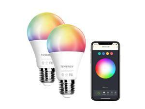Tenergy 2 Pack Smart WiFi Led Light Bulb with White and Color Changing Light Bulb A19, No Hub Required LED Bulb with APP Compatible with Alexa and Google Home Assistant
