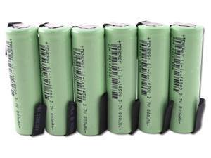 Combo: 6 PCS Tenergy Li-Ion 14500 Cylindrical 3.7V 800mAh Rechargeable Batteries w/ Tabs