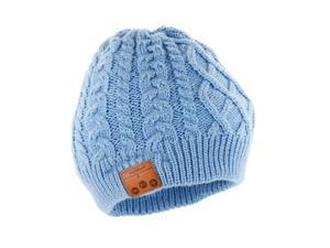 Tenergy Braided Cable Knit Wireless Hands-Free Bluetooth 4.0 Beanie with Built-in Speakers - Airy Blue