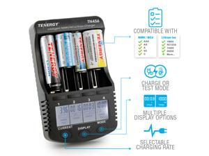 Tenergy TN456 Intelligent Universal Digital Battery Charger for Li-ion NiMH NiCd Rechargeable Batteries - 4 Slots, LCD Screen, USB Output Plug