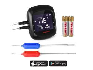 Tenergy Solis Digital Meat Thermometer, APP Controlled Wireless Bluetooth Smart BBQ Thermometer w/ 2 Stainless Steel Probes, Large LCD Display, Carrying Case, Cooking Thermometer for Grill & Smoker