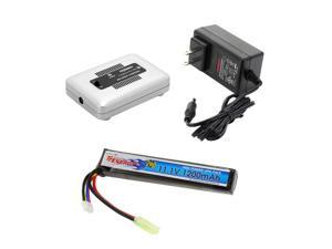 Tenergy Airsoft Battery 11.1V 1200mAh Stick LiPo Battery Pack 20C High Discharge Rate Replacement Hobby Battery for Airsoft Guns with Mini Tamiya Connecotor + 1-4 Cells LiPo/LiFe Balance Charger