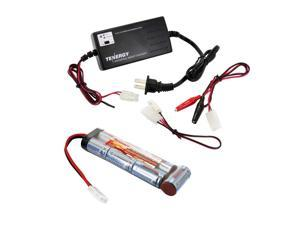 Tenergy Airsoft Battery 8.4V 3800mAh NiMH Flat Battery Packs w/Standard Tamiya Connector + 6V-12V Universal Battery Charger for NiMH/NiCd Battery Packs for Airsoft Guns, RC Hobbies