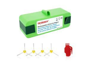Tenergy 5200mAh iRobot Roomba Replacement Battery for R3 500 600 700 800 Series, 5.2Ah 14.4V Advanced Power System (APS) Li-ion Roomba Battery Bonus 4 Side Brushes and 1 Brush Cleaning Tool