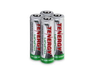 Tenergy AA (14500 Size) 3.2V 400mAh LiFePO4 Rechargeable Batteries for Solar Lights, 4 pieces
