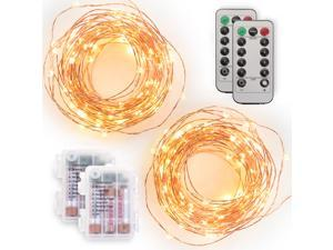 Tenergy [2 Pack] Battery Operated LED String Lights, 16.ft Light String 50 dimmable LEDs, Remote Control, AA Batteries, Outdoor Ready for Christmas Lights Decor, Wedding Decor, UL Certified …