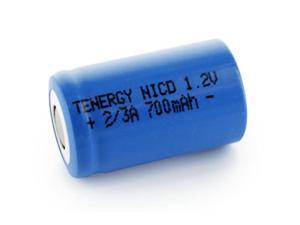Tenergy 2/3A 700mAh NiCd Flat Top Rechargeable Battery - No Tabs