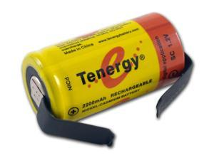 Tenergy Sub C 1.2V 2200mAh NiCd Flat Top Rechargeable Battery for Power Tools (w/ Tabs)