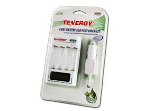 Combo: Tenergy TN156 4-Bay AA/AAA NiMH LCD Battery Charger + 3 Cards Centura AA Batteries (12pcs)