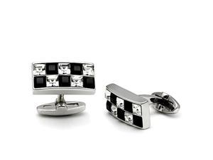 Black and White Checkerboard Rhodium Plated Top Grade Crystal Cuff Links