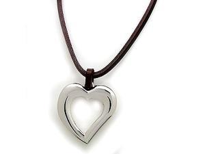 Fashionable Leather Necklace with White Metal Heart Pendant.