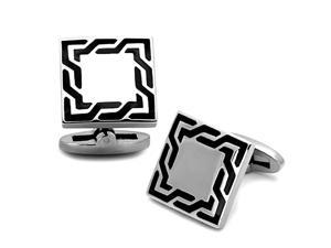Square Stainless Steel Cufflinks with Black Enamel Pattern Detail