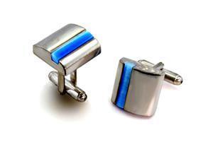 Shiny Square Rhodium Plated Brass Cufflinks with Blue Aqua Marine Faux Cat's Eye