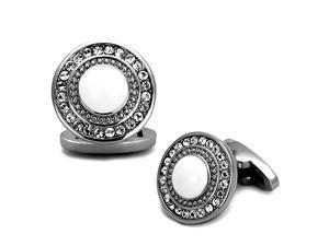 Ornate Round Stainless Steel Cufflinks with Top Grade Crystal Clear Stones
