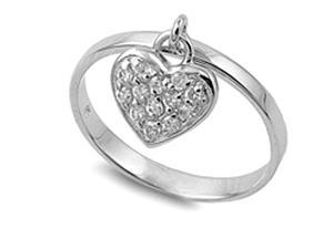 Sterling Silver Ring with Cubic Zirconia Pave Covered Dangling Heart Charm, Size 5