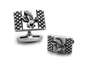 Detailed Stainless Steel Rectangle US American Bald Eagle Cufflinks