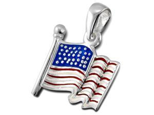 """Sterling Silver American Flag Pendant with Red, White and Blue Epoxy Color, 18"""" Chain"""