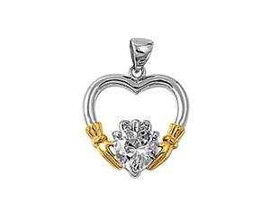"""Sterling Silver Heart Pendant, Cubic Zirconia, Claddagh Gold Plated Hand,18"""""""