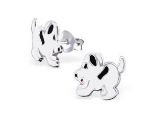Sterling Silver Children's Black & White Wagging Tail Puppy Dog Stud Earrings