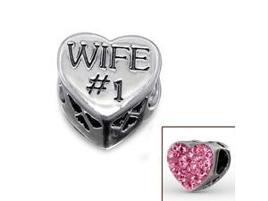 Cheneya Sterling Silver Heart Bead with Pink Crystals for Your Wife the #1