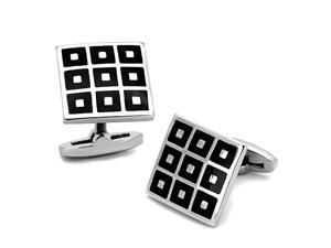 Square Stainless Steel Silver Tone and Black Checker Pattern Cufflinks