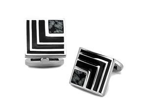 Square Stainless Steel Silver Tone and Black Cufflinks w/Synthetic Onyx Accent