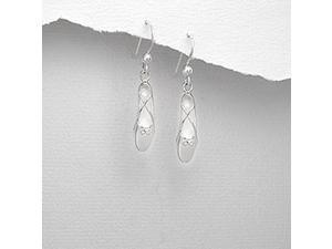 Sterling Silver Ballet Slipper Dangle Earrings with Fish Hook Backing