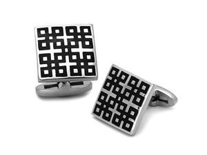 Square Stainless Steel Cufflinks with Black Enamel in Epoxy Detail