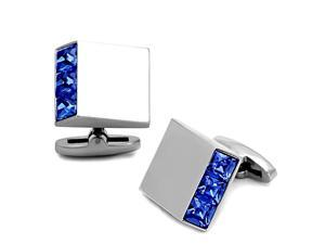 Square Stainless Steel Silver Tone Cufflinks with Blue Crystal Accent