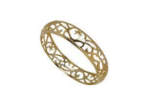 Stunning 14K Yellow Gold Plated Brass Bangle with Filigree Pattern and Matte Finish