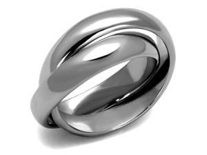 Stainless Steel Interlocking Rolling Intertwined Double Band Ring