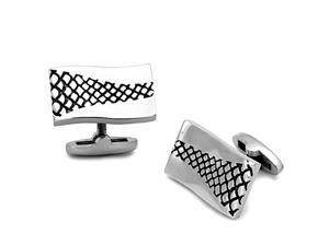 Rectangle Silver Tone and Black Epoxy Design High Polished Stainless Steel Cufflink