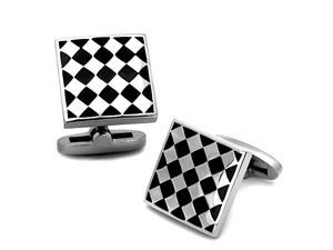 Black and Silver Tone Checkered Stainless Steel Square Cufflinks
