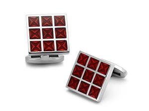 Stainless Steel Square Cufflinks with Red Checkerboard Design