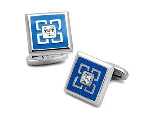 Square Stainless Steel Blue Enamel Cufflinks, Top Grade Crystal Clear Stone