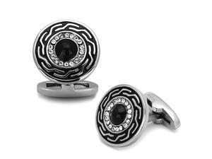 Round Stainless Steel and Black Cufflinks with Top Grade Crystal Clear Stones