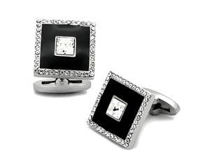 Black Stainless Steel Square and Top Grade Crystal Cufflinks