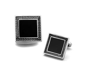 Stainless Steel Black Cufflinks with Silver Tone Trim Accent
