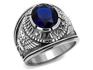 Stainless Steel US Navy USN Military Ring with Blue Stone, Size 10