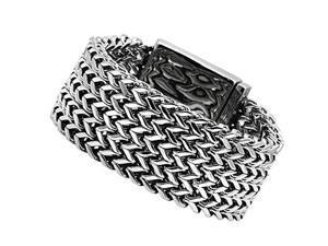 "Men's Stainless Steel Multi-Strand Wheat Fashion Heavy Chain Bracelet, 7.75"""