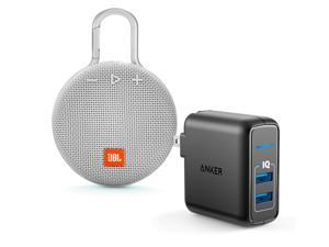 JBL Clip 3 White Bluetooth Speaker w/Anker 2 Ports Wall Charger