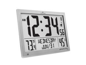 Marathon CL030062FD GG Slim Atomic Full Calendar Clock Gray