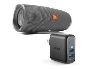 JBL Charge 4 Gray Portable Bluetooth Speaker w/Anker Wall Charger